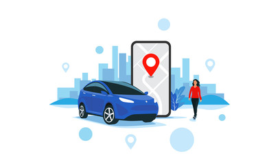 Vector illustration of autonomous online car sharing service controlled via smartphone app. Phone with location mark and smart car with modern city skyline. Isolated connected vehicle remote parking.