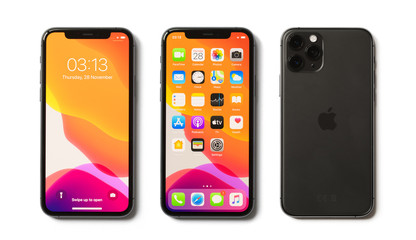 Riga, Latvia - November 28, 2019: Apple iPhone 11 Pro showing locked screen, home screen and back side of the phone.