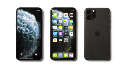 Riga, Latvia - November 28, 2019: Apple iPhone 11 Pro mobile phones with locked screen, home screen and back side with camera lenses.