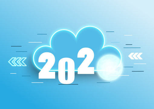 Infographic concept 2020 year. Hot trends, prospects in cloud computing services and technologies, big data storage, communication. Vector illustration.