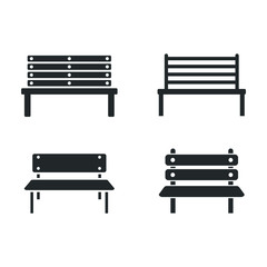 park bench icon template color editable. Benches symbol vector sign isolated on white background illustration for graphic and web design.