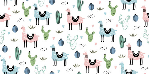 Cute Seamless pattern with llama, cactus and hand drawn elements. Creative childish hand drawn scandinavian texture. Great for fabric, textile Vector Illustration.