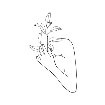 Female body with hand holding leaves. One line Continuous line drawing. Fashion concept, woman beauty minimalist with Abstract floral elements. Fashion concept Vector illustration