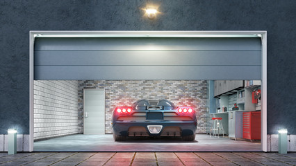 Modern garage with open gate. 3d illustration