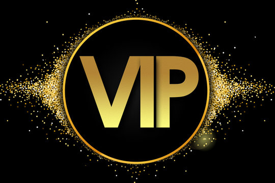 vip in golden circle stars and black background