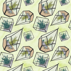 Terrarium Pattern Isolated On A White Background Hand Drawn Illustration