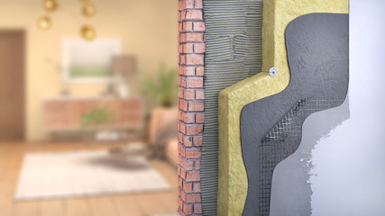 Wall thermal insulation with blurred room on background, 3d illustration