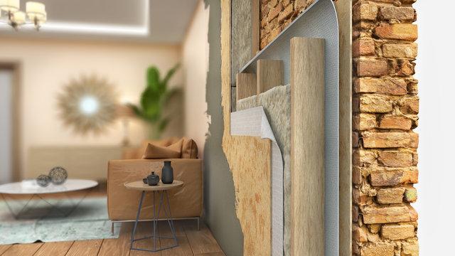 Interior wall thermal insulating, 3d illustration