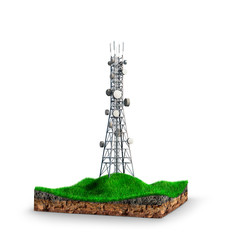 Electricity tower, land. 3d illustration