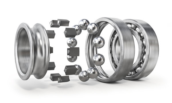 View of disassembled bearing isolated on a white background. See parts of detail. 3d illustration