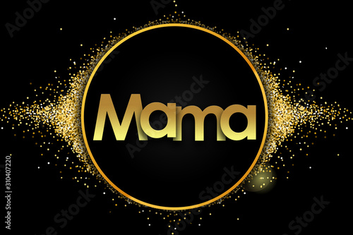 mama in golden circle stars and black background