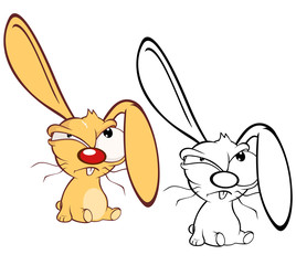 Fotobehang Babykamer Vector Illustration of a Cute Cartoon Character Rabbit for you Design and Computer Game. Coloring Book Outline Set