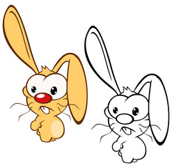 Foto auf AluDibond Babyzimmer Vector Illustration of a Cute Cartoon Character Rabbit for you Design and Computer Game. Coloring Book Outline Set