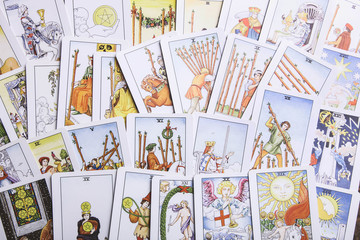 Background from fortune-telling tarot cards
