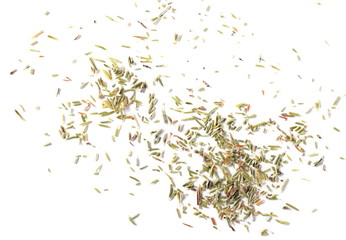 Dry thyme pile isolated on white background, top view
