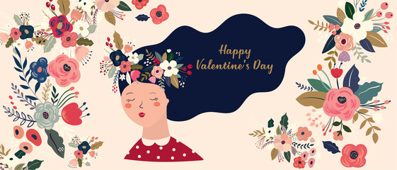 Fototapete - Valentines Day greetings illustrations, posters, cards. Set of Valentines day cards. Vector illustration of girl in love. Flyer, card, banner, brochure