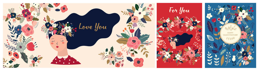 Valentines Day greetings. Set of Valentines day cards. Vector illustration of girl in love. Flyer, card, banner, brochure