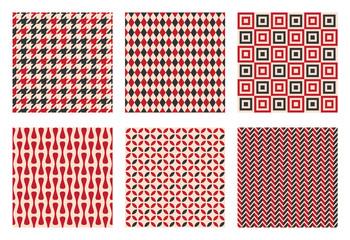 Fototapeten Künstlich retro seamless pattern set, vintage textile texture