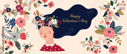 Fototapete Valentines Day greetings illustrations, posters, cards. Set of Valentines day cards. Vector illustration of girl in love. Flyer, card, banner, brochure