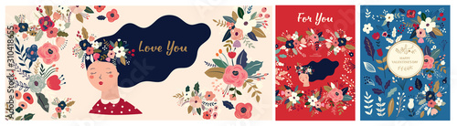 Fototapete Valentines Day greetings. Set of Valentines day cards. Vector illustration of girl in love. Flyer, card, banner, brochure