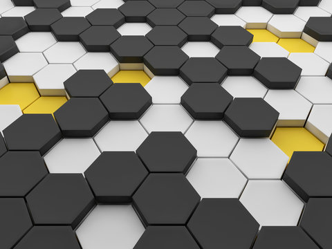 Abstract 3d hexagon background design with black, white and yellow fields; honeycomb grid pattern perspective view 3d rendering, 3d illustration