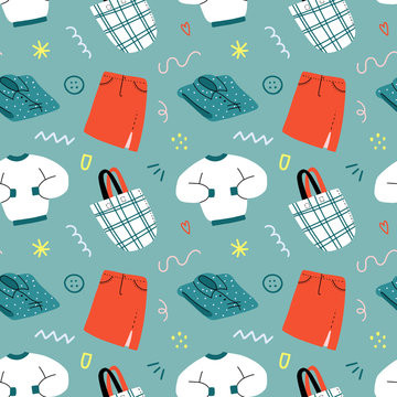 Fashion clothes background, seamless vector pattern with colorful hand drawn illustrations of sweatshirt, shopper bag and denim middle skirt and blouse, modern simple style, concept for retail store