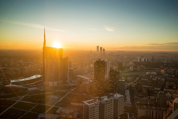 Keuken foto achterwand Milan Milan cityscape at sunset, panoramic view with new skyscrapers in Porta Nuova district. Italian landscape.