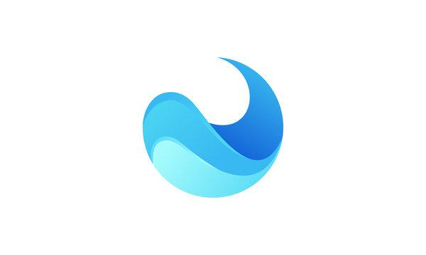 Water logo stock image circle shape