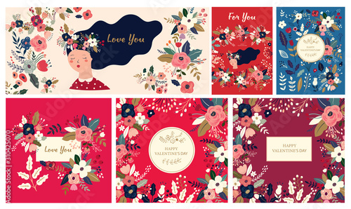 Fototapete Big Floral collection of cards, invitations, posters. Valentines Day greetings. Set of Valentines day cards. Vector illustration of girl in love. Flyer, card, banner, brochure