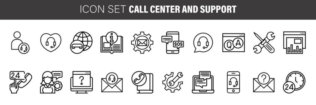 Help, Support and Contact Vector Flat Line Icons Set. Phone Assistant, Online Help