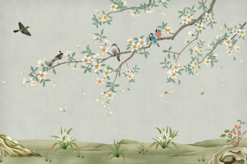 Fototapeta 3d marble mural background light simple green wallpaper . birds in branches flowers floral background with flowers and herbs obraz