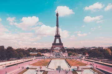 Wall Mural - Paris, France - Eiffel Tower and Trocadero. Retro filtered colors.