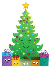 Poster Voor kinderen Stylized Christmas tree and gifts 1
