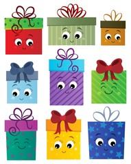 Deurstickers Voor kinderen Stylized gifts theme set 1