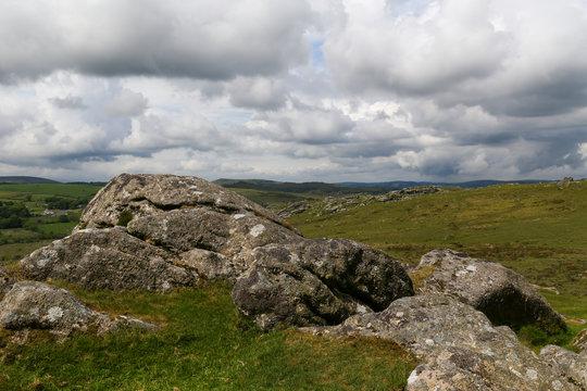 View from Haytor Rocks at Dartmoor National Park in Devon