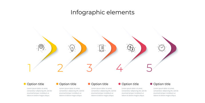 Business process chart infographics with 5 steps. Corporate workflow graphic elements. Company flowchart presentation slide template. Vector info graphic design.