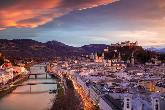 Salzburg, Austria. Cityscape image of the Salzburg, Austria with Salzburg Cathedral during beautiful winter sunset.