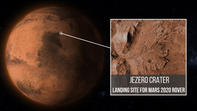 Jezero Crater, landing Site for rover mission Mars 2020 illustration, elements of this image furnished by NASA