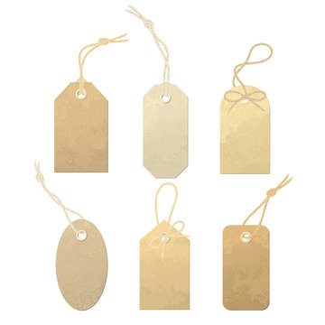 Set of vector carton labels with various linen string tying. Tags tied with knots and bows of realistic, detailed linen thread illustration.