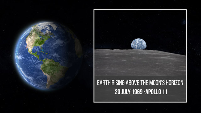 Earth planet illustration and View from the Apollo 11 spacecraft shows the Earth rising above the Moon's horizon in July 1969 , some elements of this image furnished by NASA