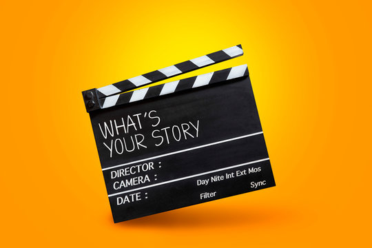 What's your story- text title on film slate