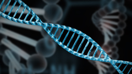 representation of a double stranded DNA helix for genoma research background illustration
