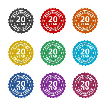 Twenty years experience color icon set isolated on white background
