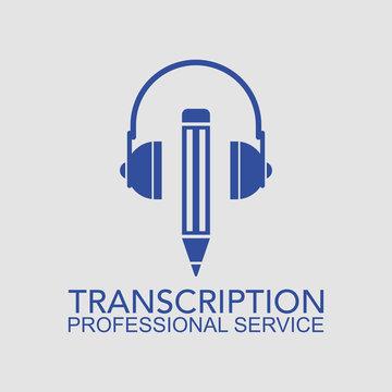Transcription - Professional service. Flat style illustration. Isolated.