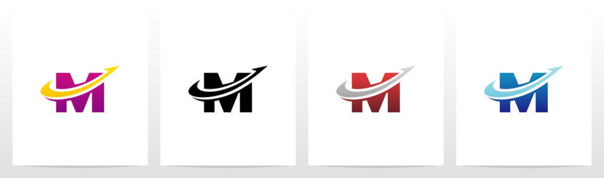 Swoosh Arrow Lines Letter Logo Design M