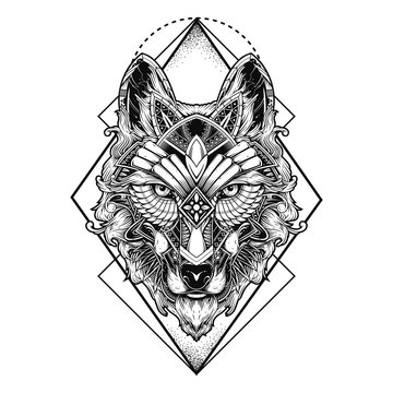 wolf illustration geometric tattoo style and tshirt design