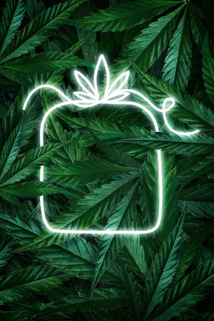 Creative fluorescent Christmas background layout from hemp leaves, marijuana and a neon sign gift. Flat lay