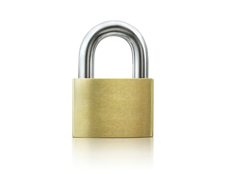 Locked Golden Padlock on the white background