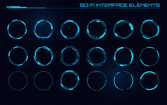 Set of Sci Fi Modern User Interface Elements. Futuristic Abstract HUD. Good for game UI. Circle elements for data infographics. Vector Illustration EPS10