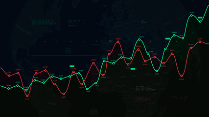 Financial dashboard, report from business analytics on the background of the political world map, exchanges and brokerage futuristic systems vector illustration